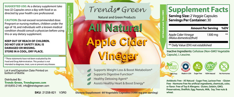 All Natural Apple Cider Vinegar Capsules