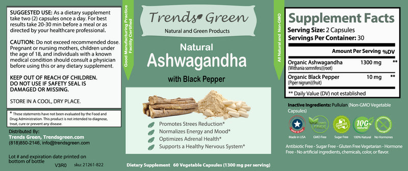 Natural Ashwagandha with Black Pepper Supplement