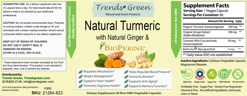 Pure Turmeric with Natural Ginger Capsules
