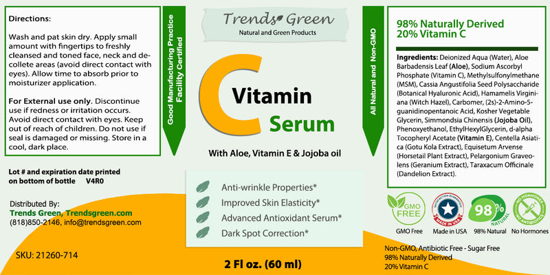 Pure Vitamin C Serum With Aloe, Vitamin E & Jojoba oil