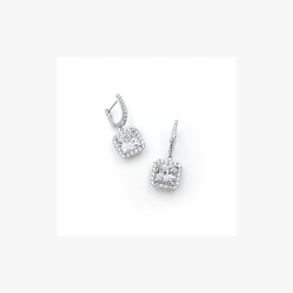 Square Silver Leverback Earrings