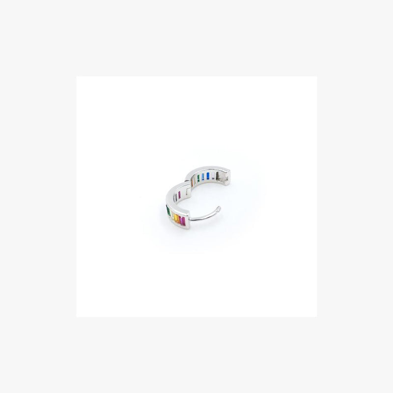 Small Rainbow Hoop Silver Earrings