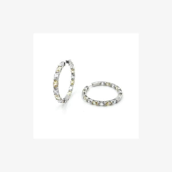 Diamond Imitation Hoop Silver Earrings