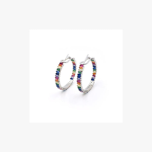 Fine Rainbow Silver Hoop Earrings