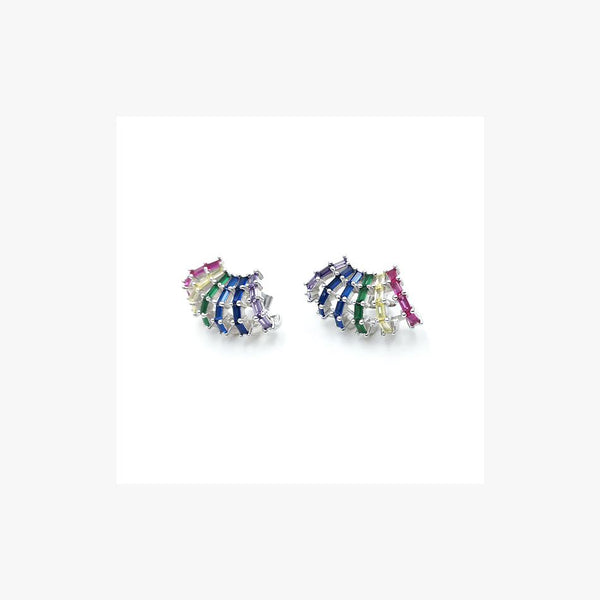 Shell Rainbow Silver Earrings