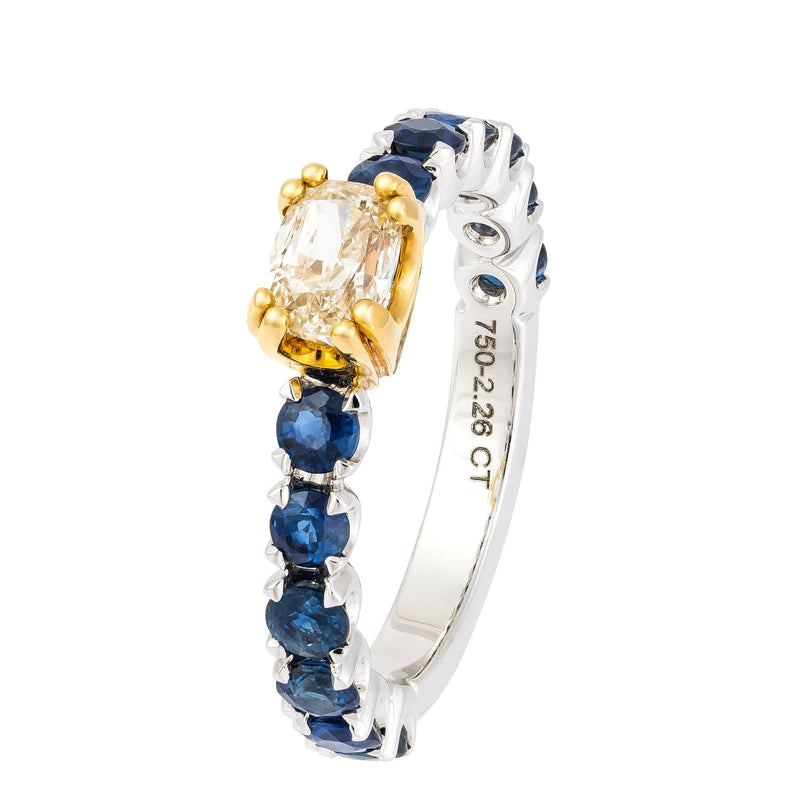 Stylish Blue Sapphire Diamond White Gold 18K Statement Ring For Her