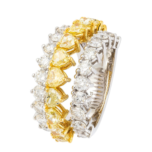 Fancy Yellow White Diamond Yellow Gold 18K Statement Ring For Her