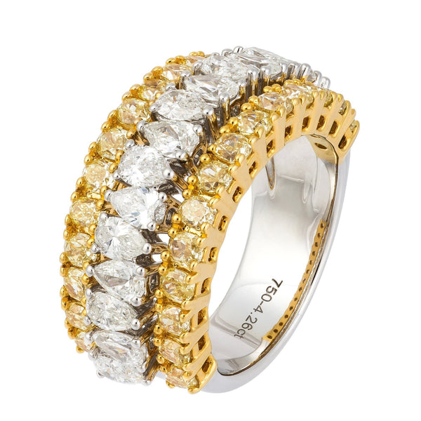 Investment Yellow White Diamond White Gold 18K Ring For Her