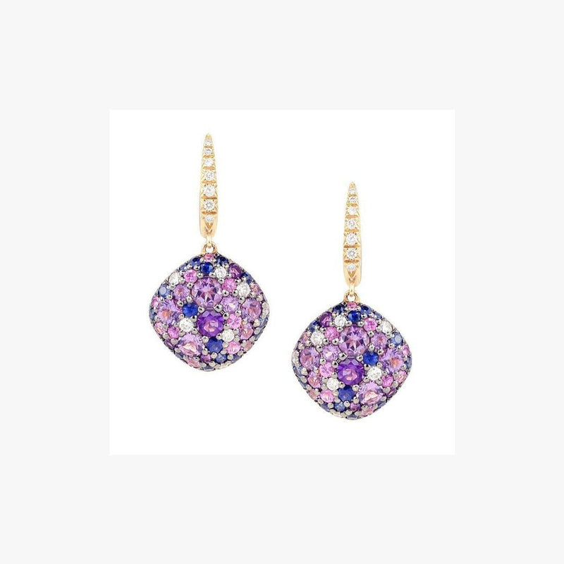 Purple Amethyst  Blue Sapphire White Diamond Yellow Gold 18K Earrings