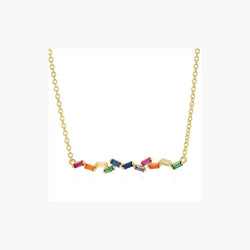 Rainbow Baguette Shape Zirconia Rhodium Plated Silver 925 Necklace - Natkina