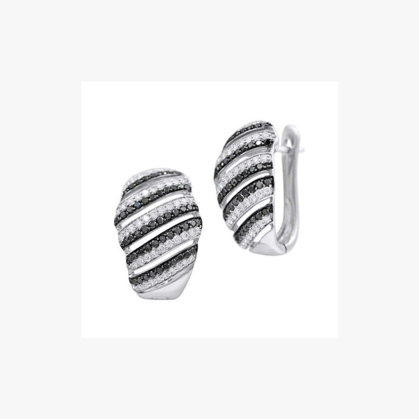 Striped Rows Black Diamond White Diamond White Gold Leverback Earrings - Natkina