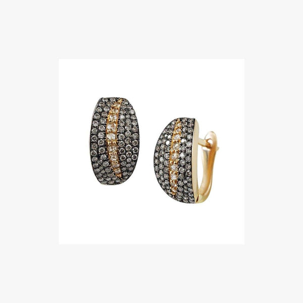White Diamond Black Diamond Yellow Gold Latchback Earrings
