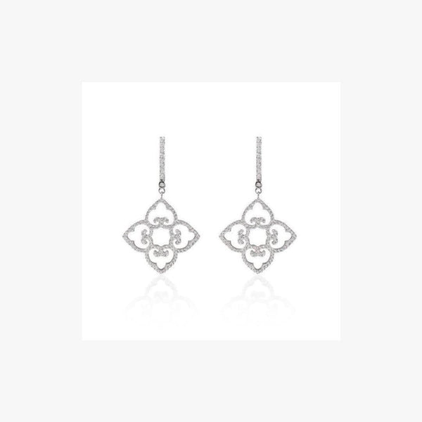 Flower Kazakh Zirconia Silver Leverback Earrings - Natkina