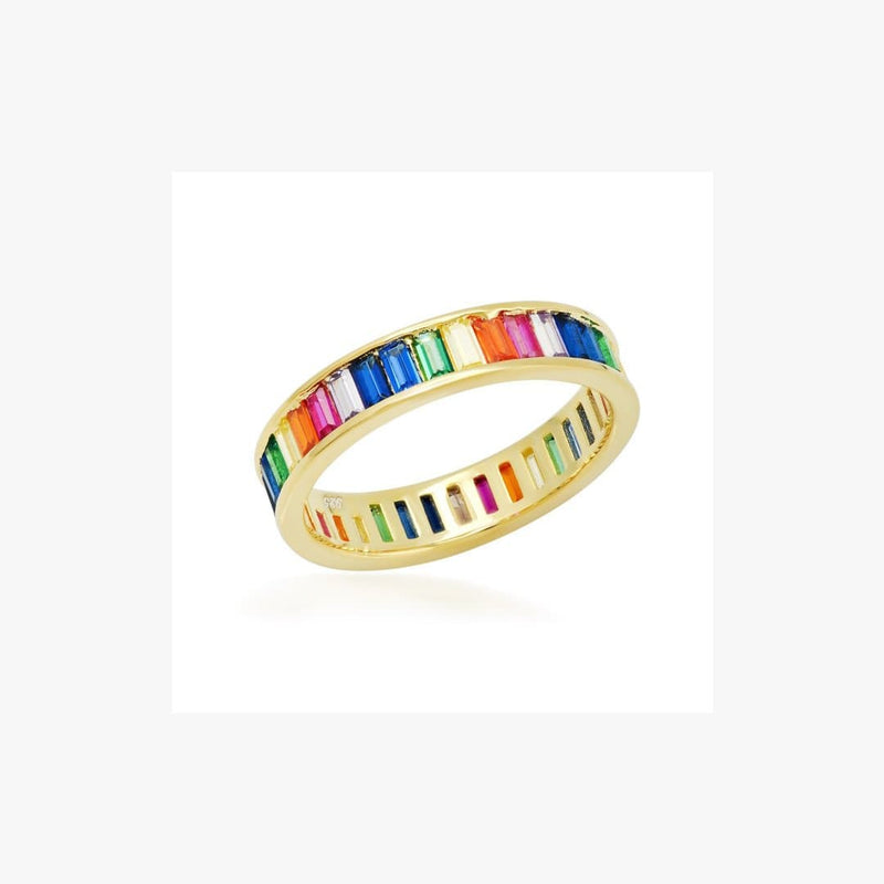 Channel Setting Colourful Zirconia Silver Ring - Natkina
