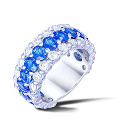 The Classic Blue Sapphire White Diamond White Gold Band Ring For Her 18K