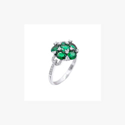 Green Emerald Ring For Her with White Diamonds
