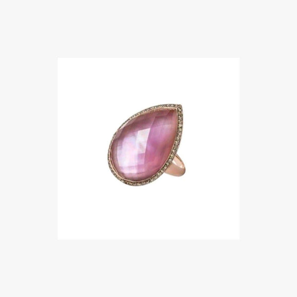 Exclusive Amethyst set on Pink Nacre 18 Karat Diamond Designer Ring