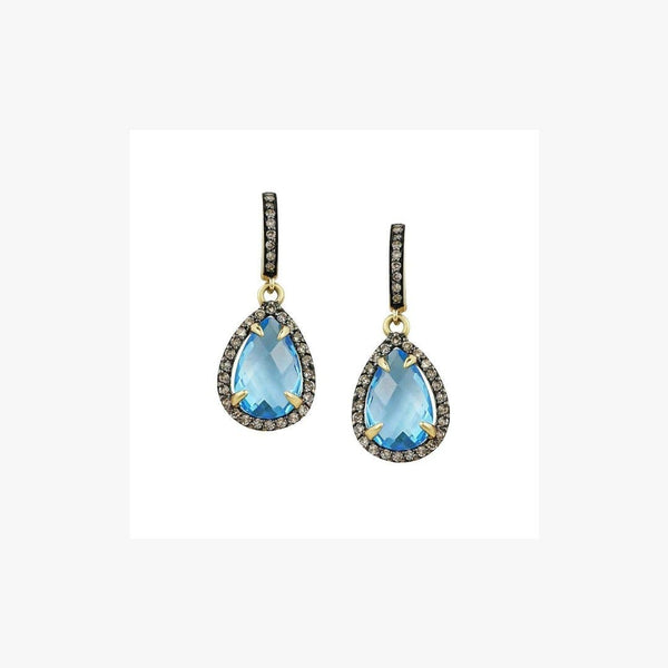 Fashion Blue Topaz Brown Diamond Yellow Gold Lever Back Dangle Earrings