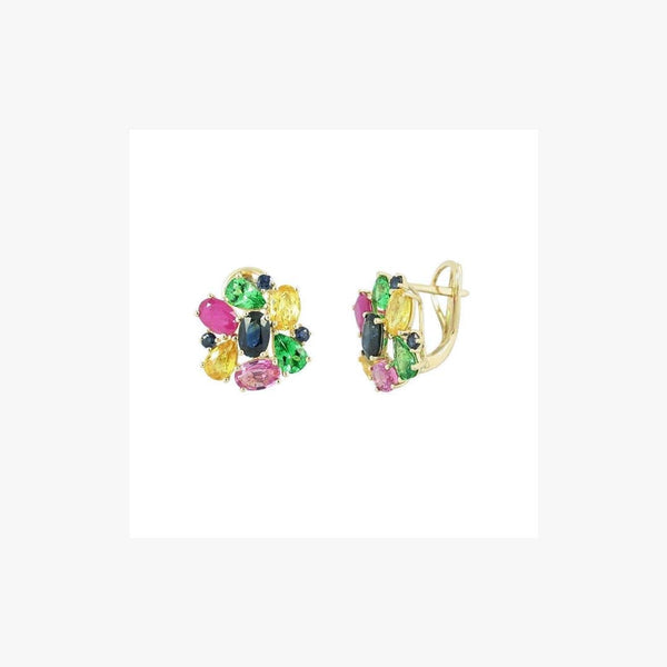 Fashion Pink / Yellow / Blue Sapphire Ruby Yellow Gold Earring