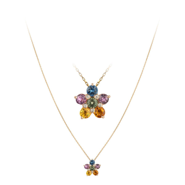 Breathtaking Multi Sapphire Diamond 18K Rose Gold Necklace for Her