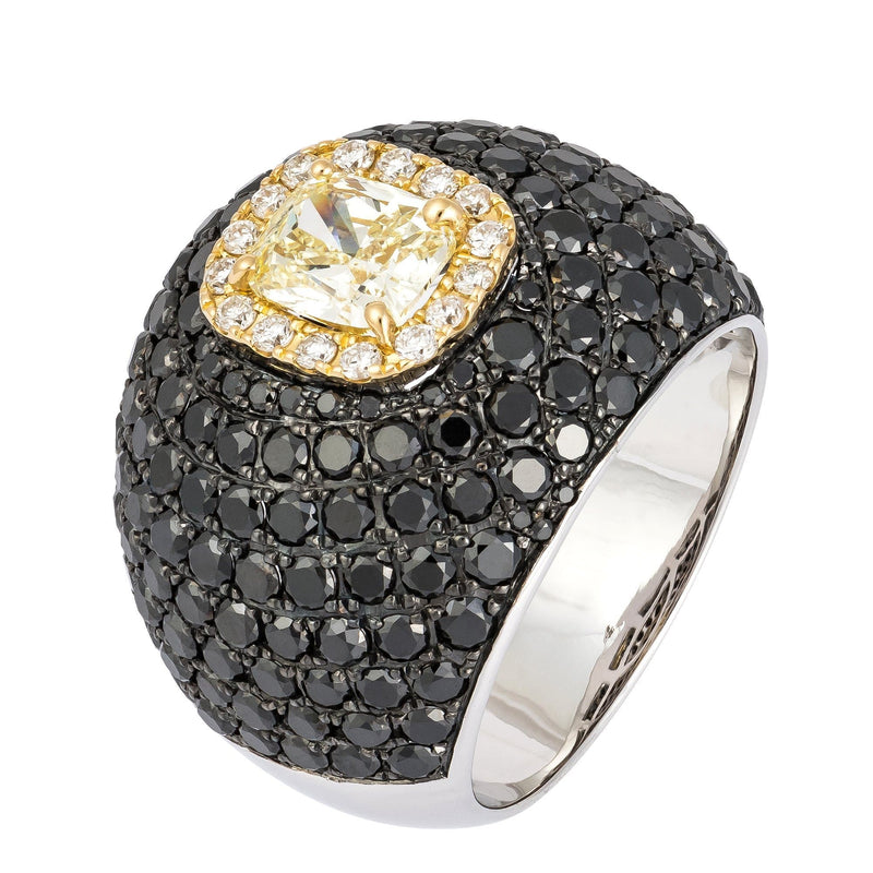 Italian Rare Black Yellow Diamond White Gold 18K Ring For Her