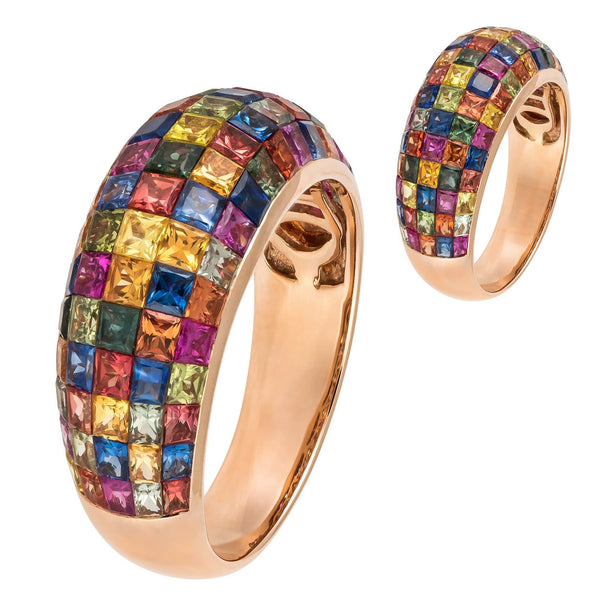 Colourful Multisapphire Diamond Rose Gold 18K Dome Ring For Her