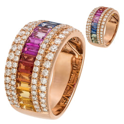 Multisapphire Diamond Rose Colourful Band Ring For Her 18 K Gold