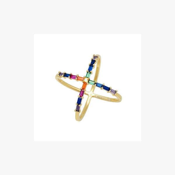 Rainbow Cross Silver Ring