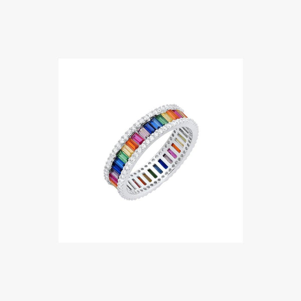 One Row Rainbow Silver Ring