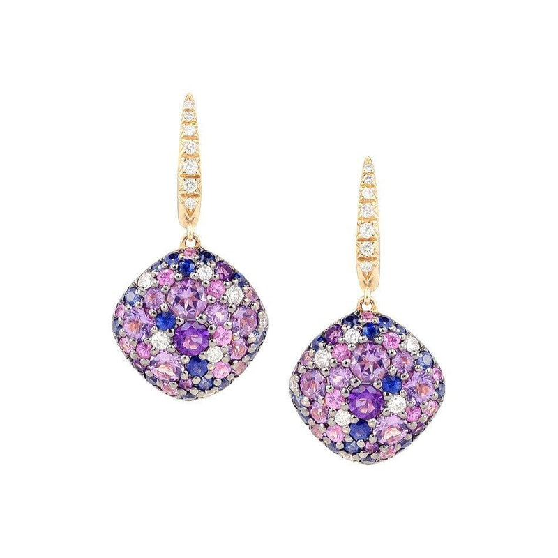 Amethyst and Sapphire Diamond Earrings - Natkina