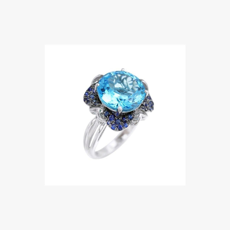 Antique Style White 14K Gold Ring with Blue Topaz Sapphires - Natkina