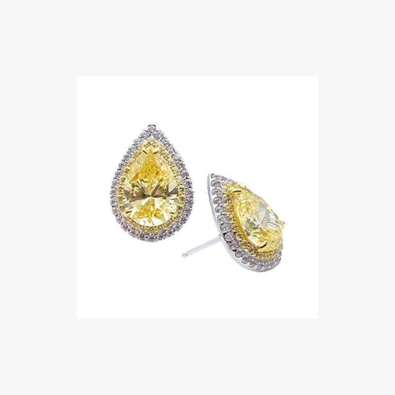 Pear Shape Zirconia Rhodium Plated Silver 925 Earrings - Natkina