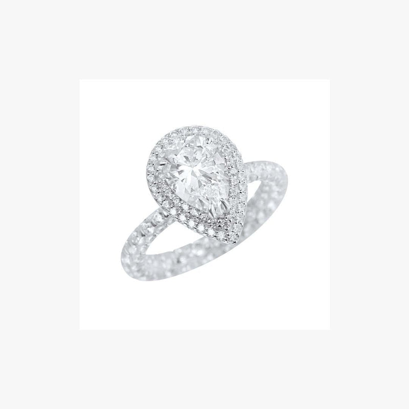 Pear Shape Zirconia Rhodium Plated Silver 925 Ring - Natkina