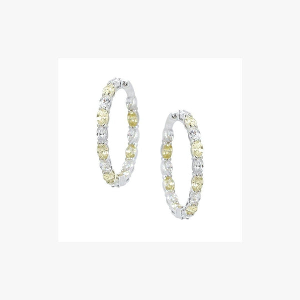 White and Yellow Hoop Zirconia Rhodium Plated Silver 925 Earrings - Natkina