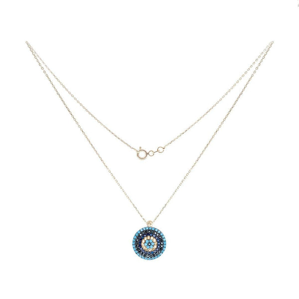 Big Eye Blue Center Gold Necklace - Natkina
