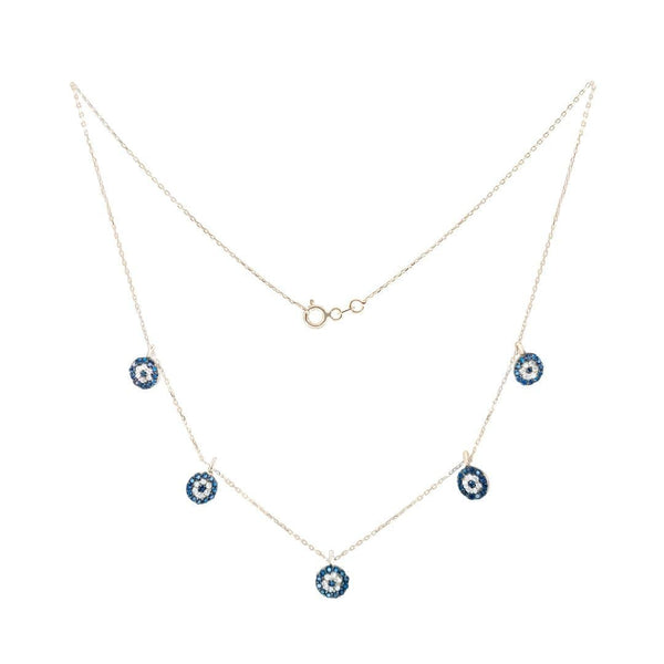 Blue Eye 5 Elements Gold Necklace - Natkina