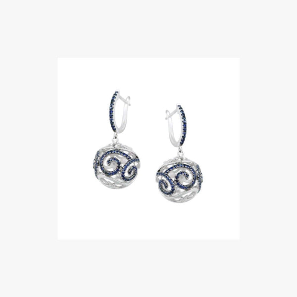 Blue Sapphire White Gold White Diamond Leverback Ball Earrings - Natkina