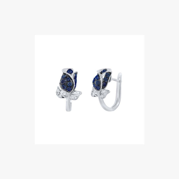 Blue Sapphire White Gold Diamond Flower Earrings - Natkina