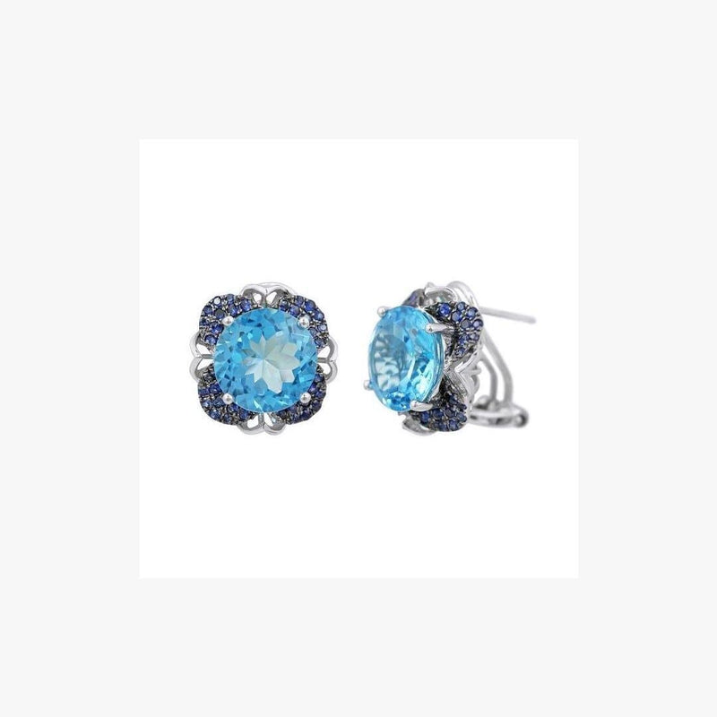 Blue Round Topaz Center Blue Sapphire White Gold Omega Clip Closure Earrings  - Natkina