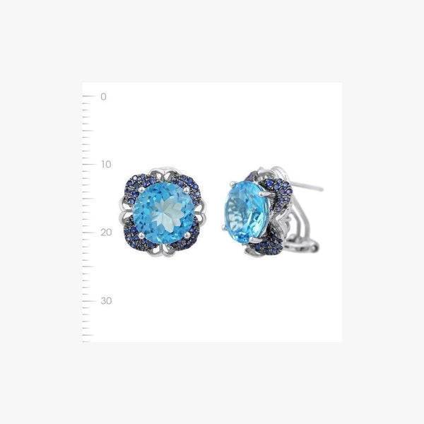 Blue Topaz Blue Sapphire White Gold Designer Lever Back Earrings for Her - Natkina
