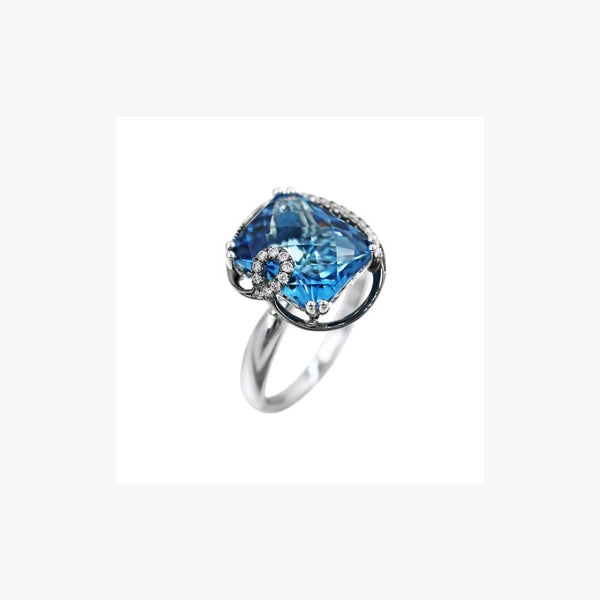 Blue Square Topaz White Diamond White Gold Ring - Natkina