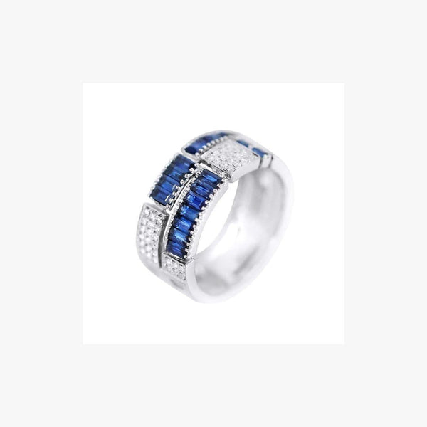 Classic Blue Sapphire Diamond White Gold Ring - Natkina