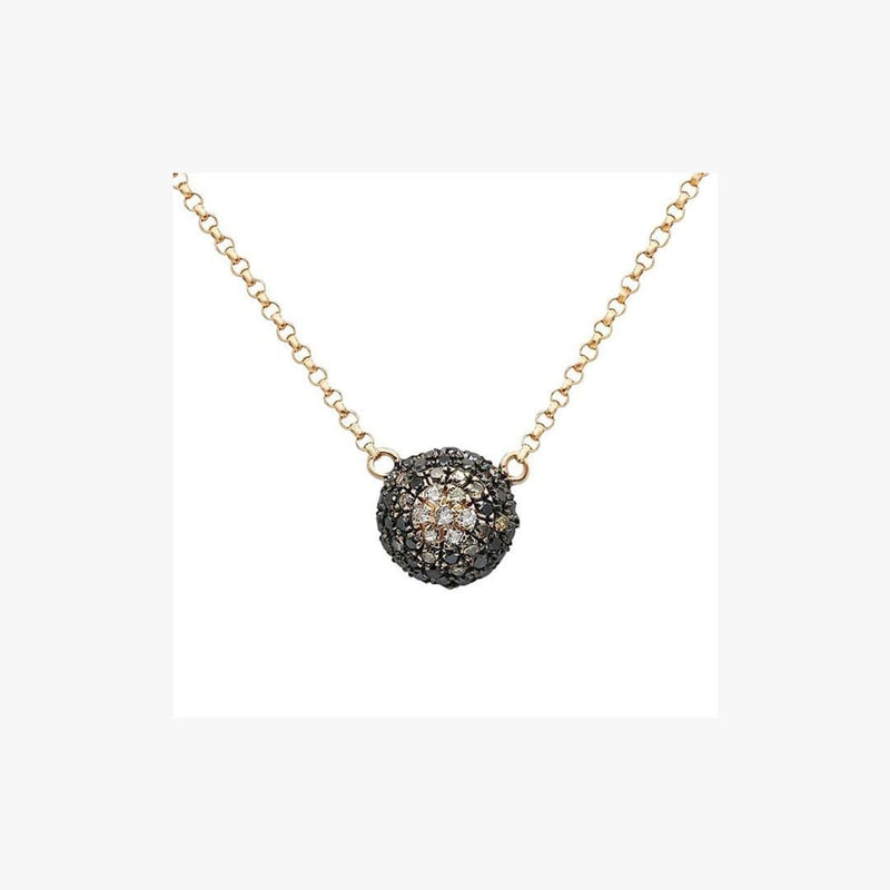 Black & White Diamond Center Pendant Pink Gold Chain Necklace - Natkina