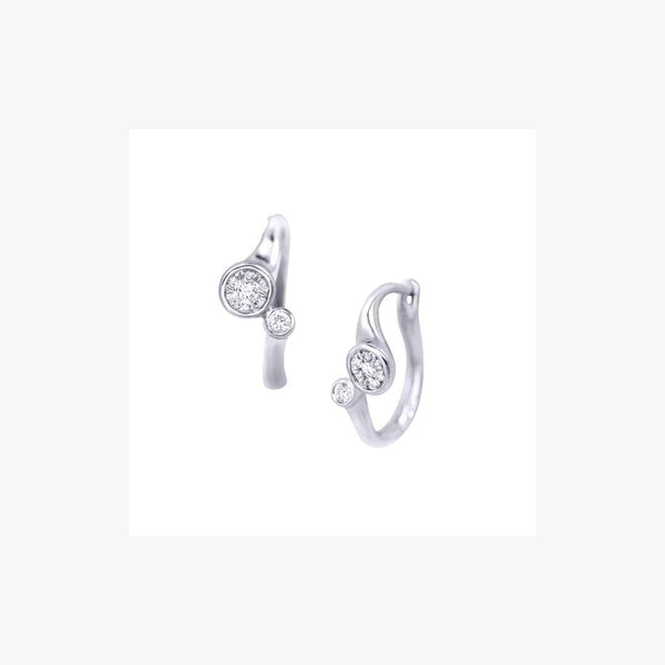 Two White Diamond White Gold LeverBack Earrings - Natkina