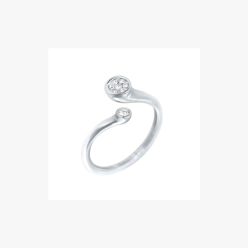 Classic 2 Diamonds White Gold Ring  - Natkina