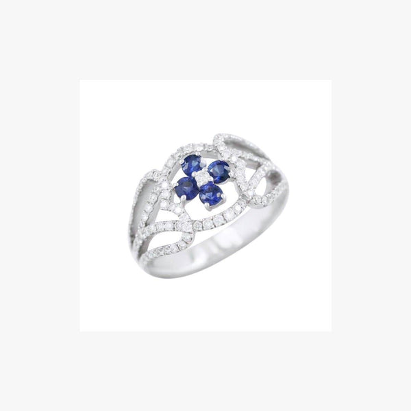 Classical Combination Blue Sapphire White Diamond White Gold 18 Karat Ring - Natkina