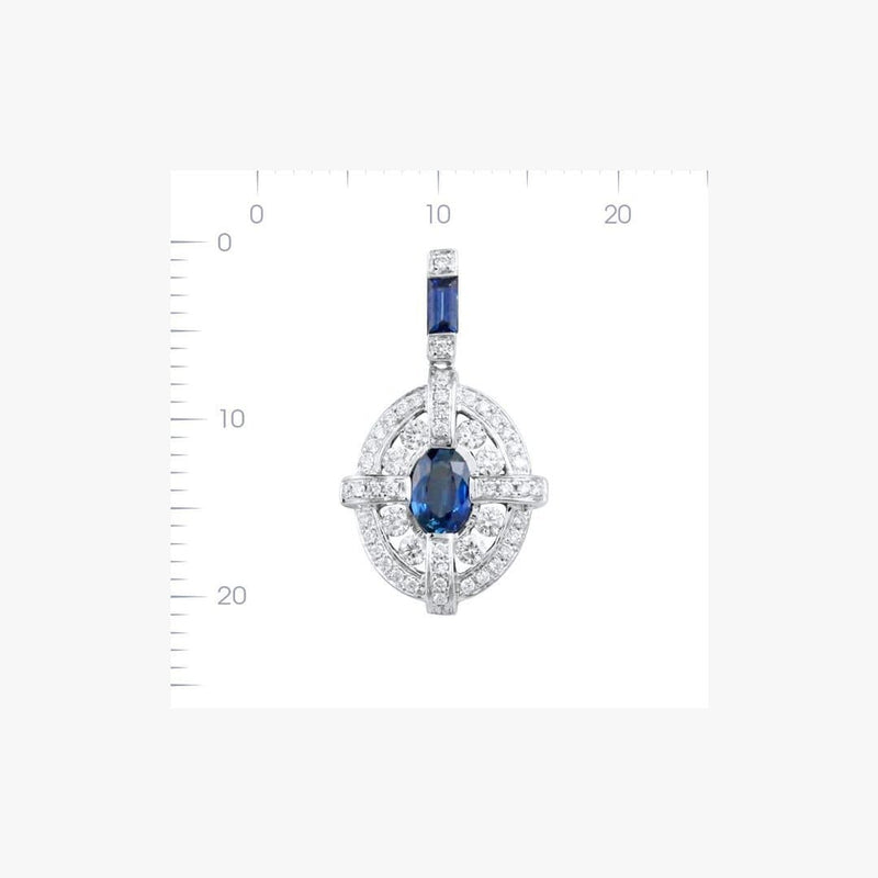 Classical Combination Blue Sapphire White Diamond White Gold Pendant Necklace - Natkina