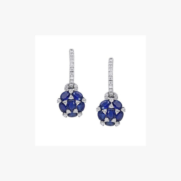 Blue Sapphire White Diamond White Gold Leverback Earrings - Natkina