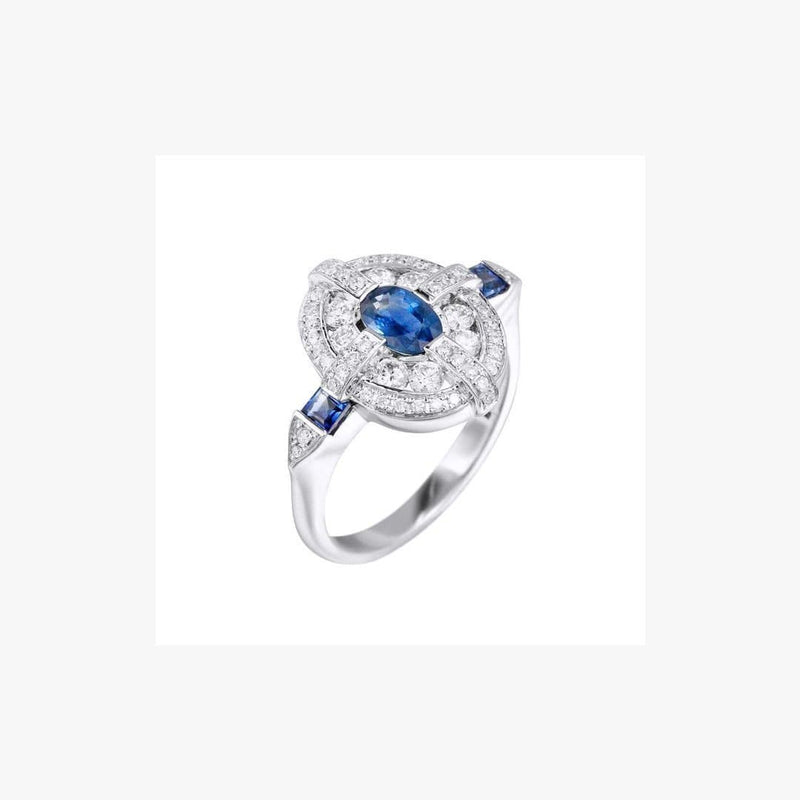 Blue Sapphire Center White Diamond White Gold  Ring - Natkina