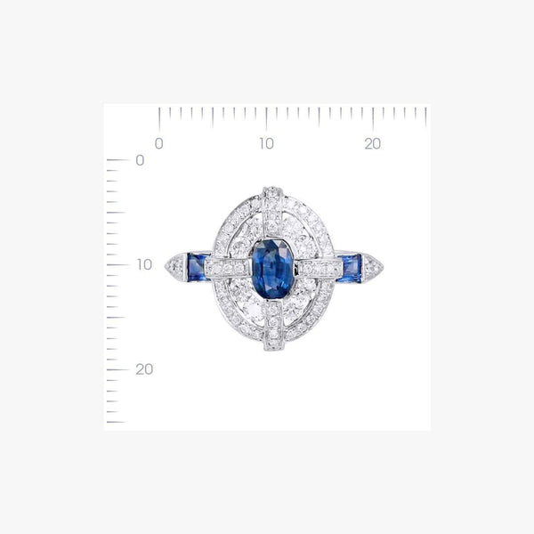 Classical Combination Blue Sapphire White Diamond White Gold Statement Ring - Natkina